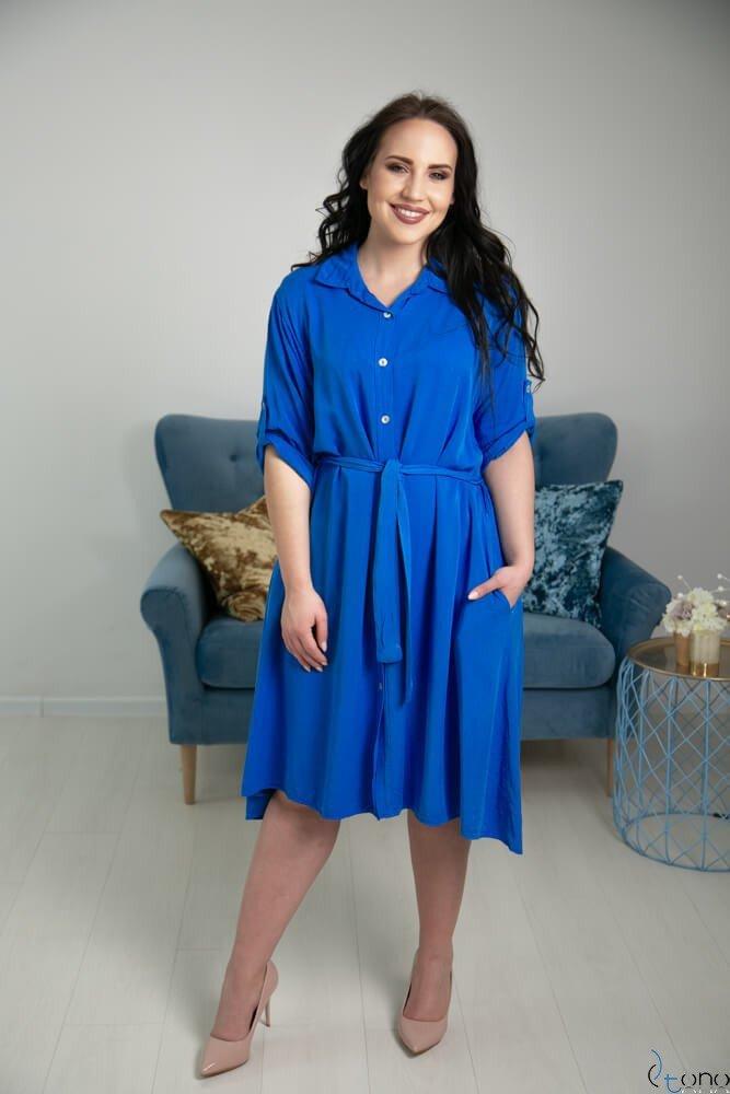 eb71fee515 Chabrowa Sukienka RAMIRA Plus Size Szmizjerka ✅ darmowy odbiór w ...