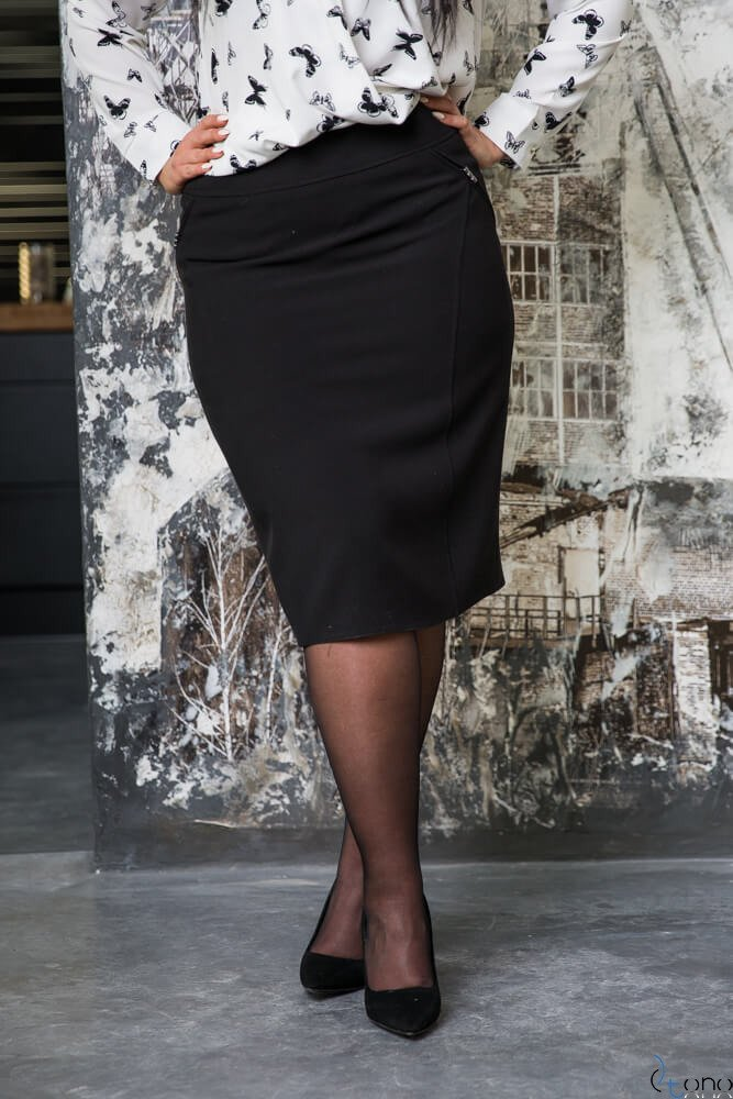 Młodzieńczy Czarna Spódnica BEVI Plus Size Ołówkowa ✅ darmowy odbiór w QF79