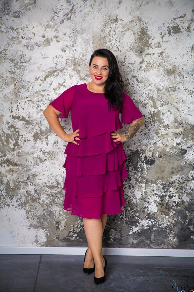 e1bfa3dd Amarantowa Sukienka ORINA Plus Size