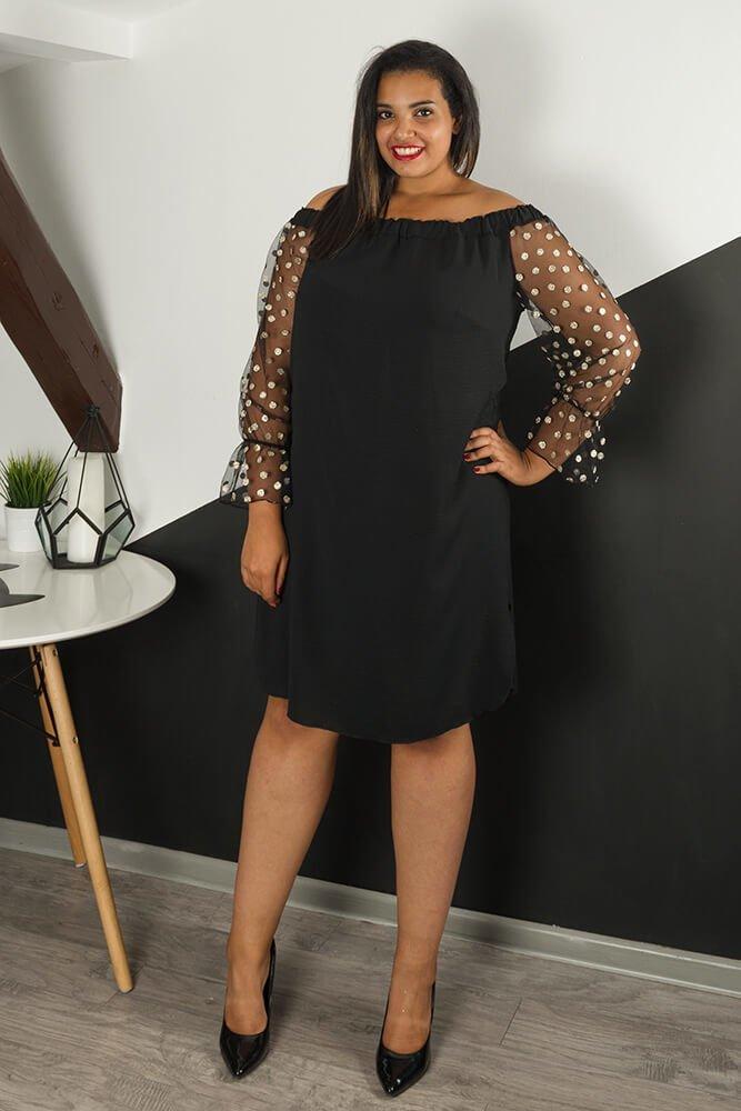 dfd5218e Czarna Sukienka MADAME Plus Size Grochy