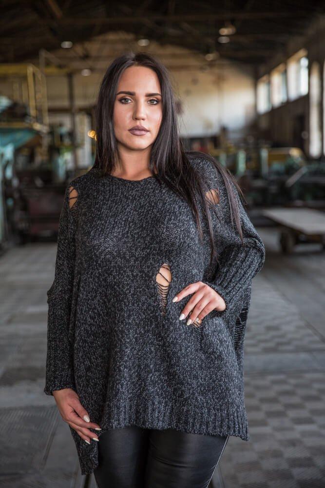 e26102825b Czarny Sweter damski HALL Plus Size ✅ darmowy odbiór w punckie i ...