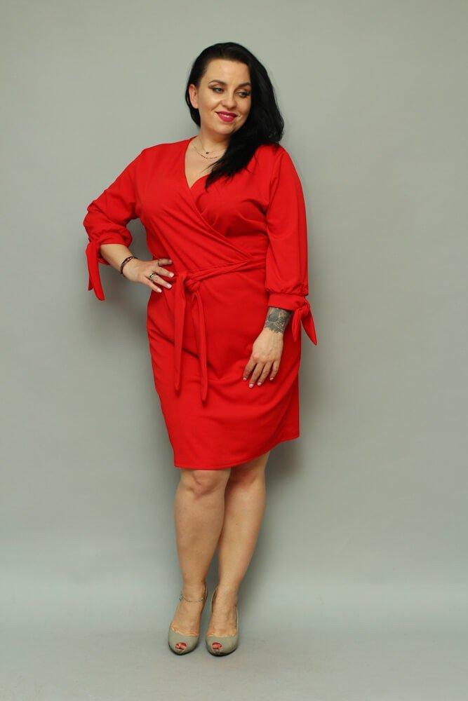 b099fde655 Czerwona Sukienka CIARRA Kopertowa Plus Size ✅ darmowy odbiór w ...