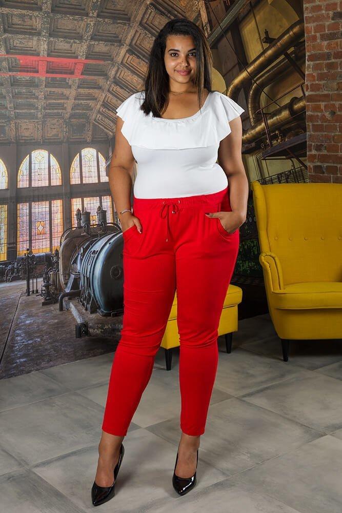 45fd0de1b45d34 Czerwone Spodnie damskie MILENA Plus Size wygodne Kliknij, aby powiększyć  ...