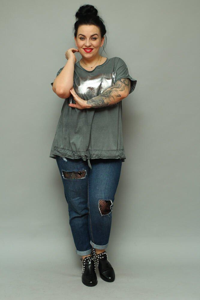 8e4b0184 Grafitowa bluzka damska NOVARA T-shirt Plus Size