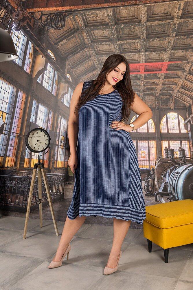 82a3be0926 Granatowa Sukienka RIMINI Pasy Maxi Plus Size ✅ darmowy odbiór w ...