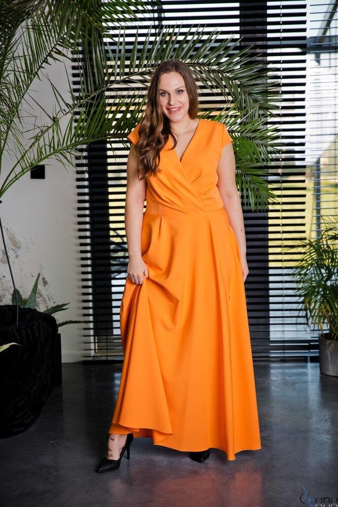 0405fc9b67 Pomarańczowa Sukienka LOREDANA Plus Size ✅ darmowy odbiór w punckie ...