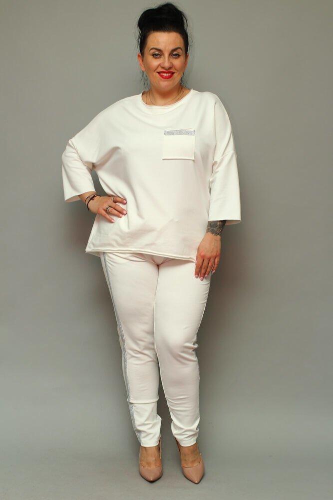 54ab7c40 Spodnie dresowe damskie LOGGIA Plus Size ecru