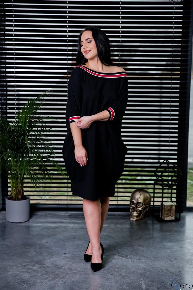 Czarna Sukienka SEPPI Plus Size