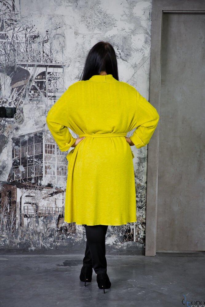 Limonkowy Kardigan FRULIA Plus Size