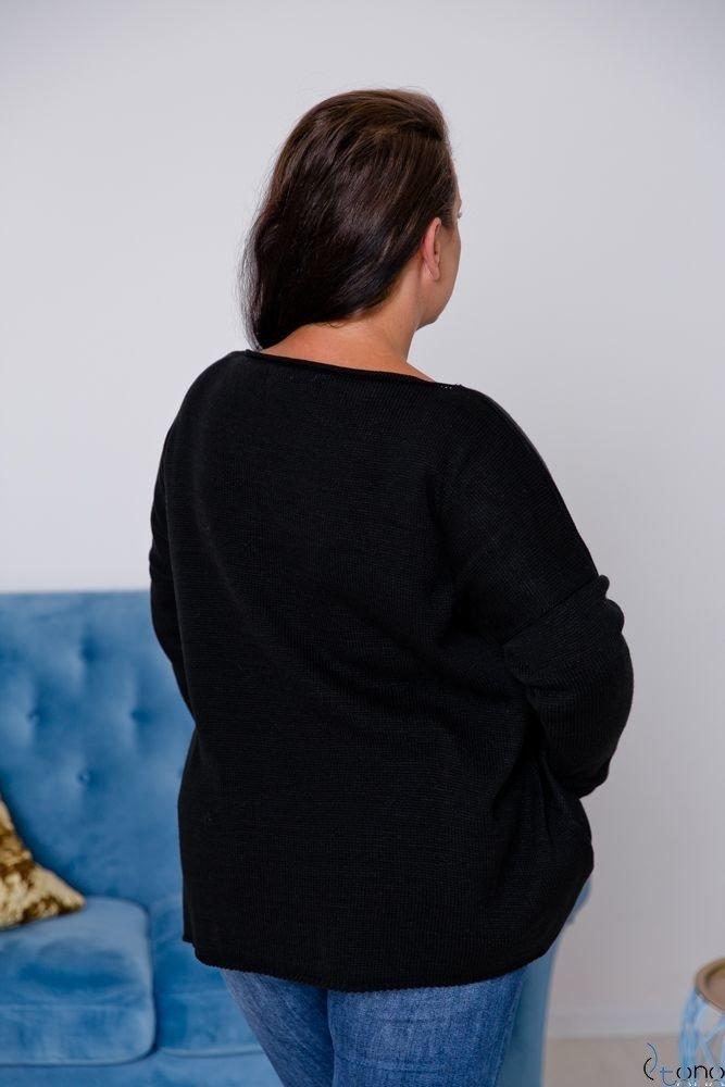 Czarny Sweter TYVEN Plus Size