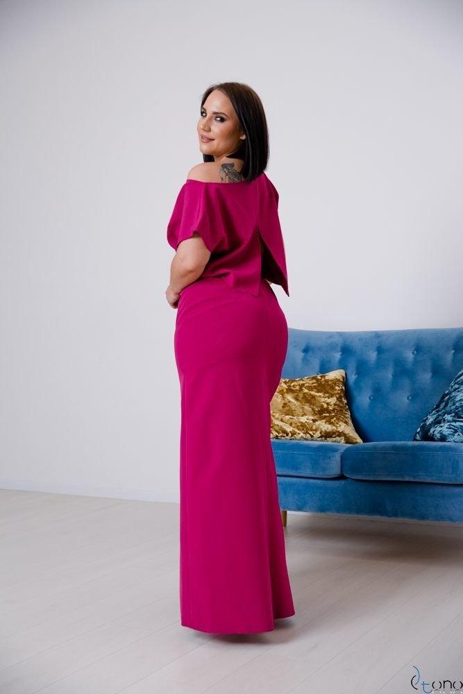 Amarantowa Sukienka PRIMMA Wizytowa Plus Size