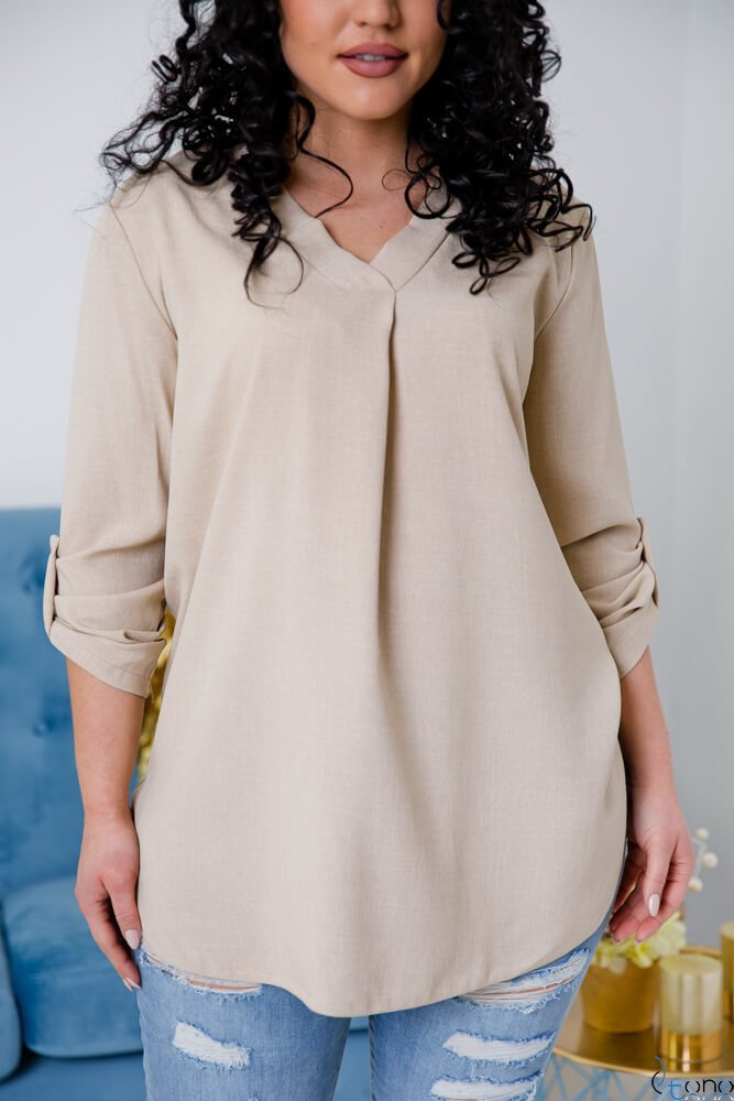 Beżowa Bluzka JUSTIN Plus Size