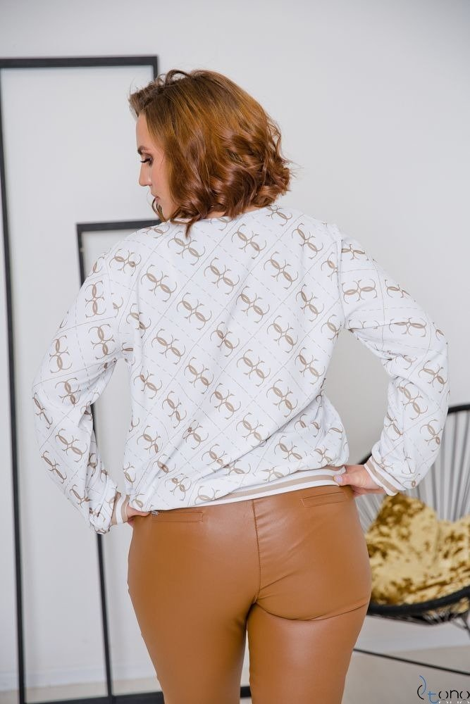 Biała Bluza GENOVE Plus Size Wzór 2