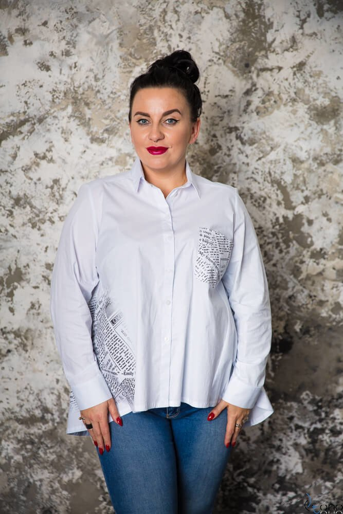 Biała Koszula BIANKA Plus Size