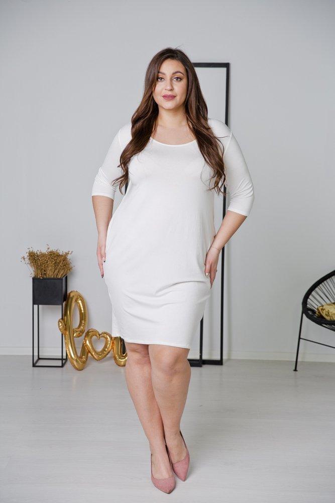 Biała Sukienka MISTRA Plus Size