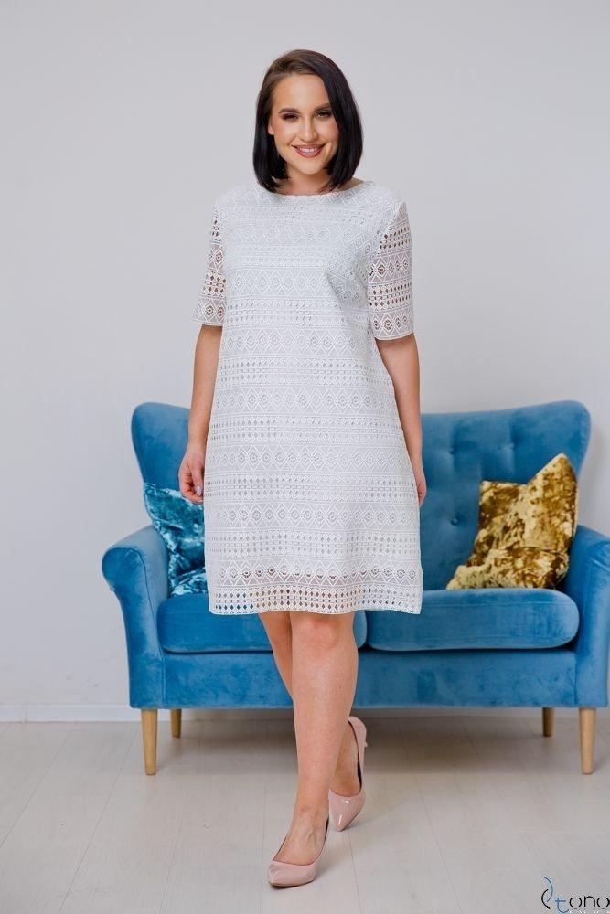 Biała Sukienka NEBIA Plus Size