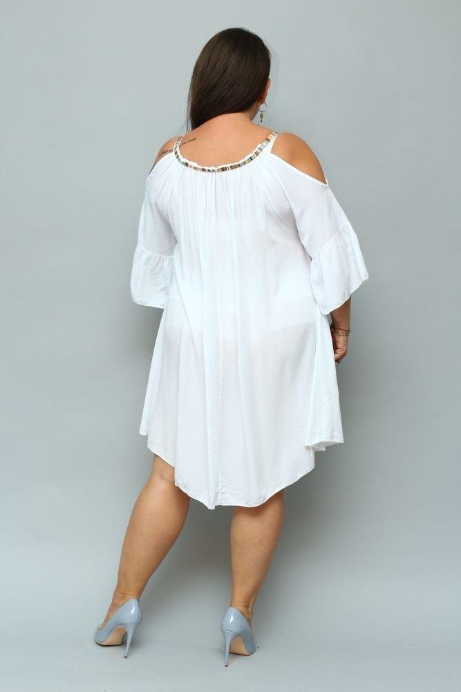Biała Sukienka SOLENA Plus Size