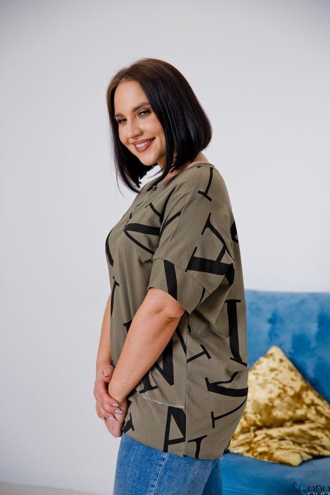 Bluzka VICTIVA Khaki Plus Size