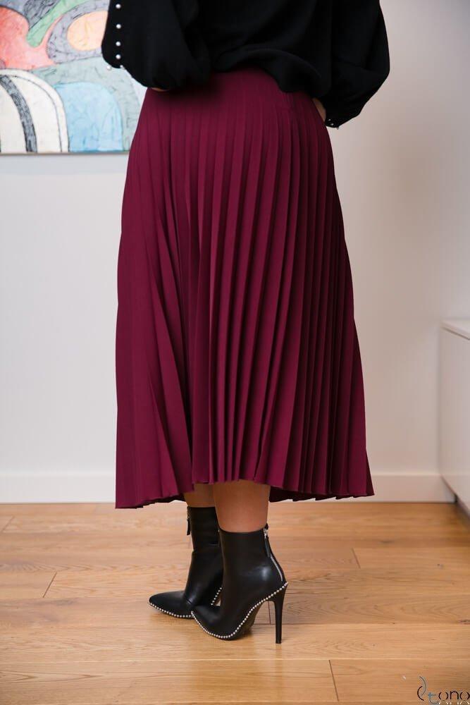 Bordowa Spódnica CARAMELLA Plisowana Plus Size