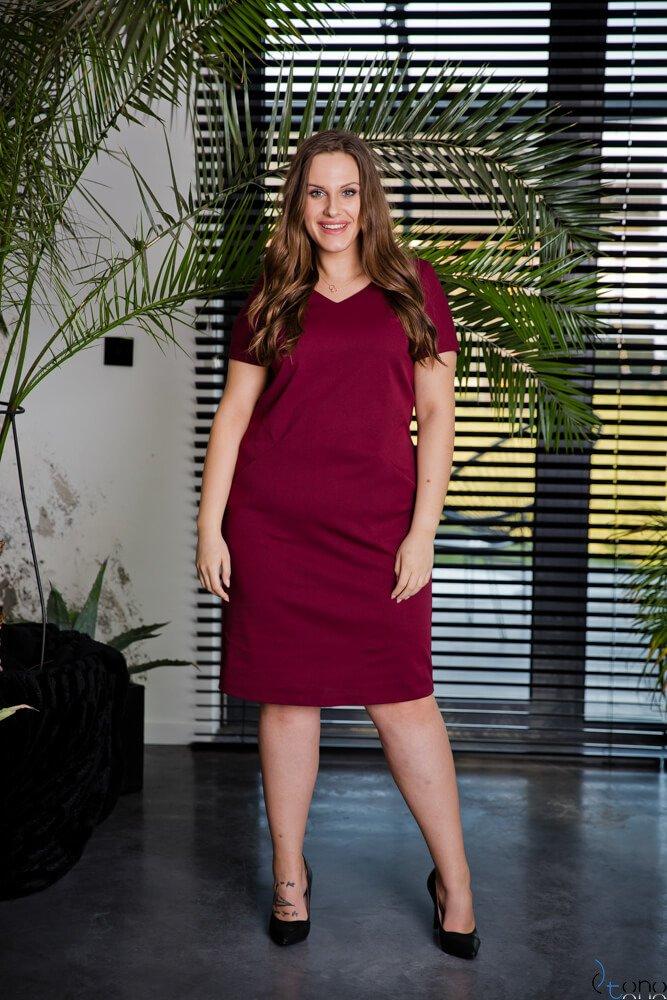 Bordowa Sukienka EJMY Plus Size