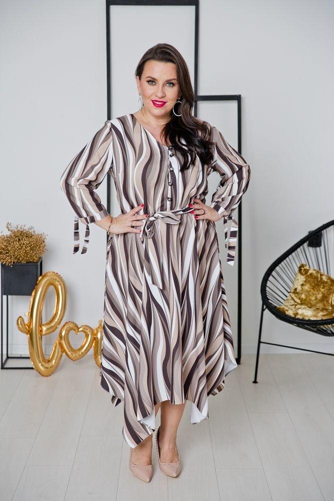 Brązowa Sukienka OFELIA Plus Size Wzór 3