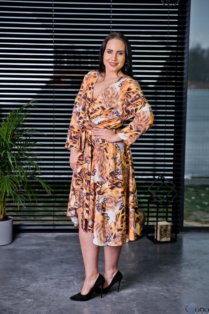 Brązowa Sukienka PALOMA Plus Szie