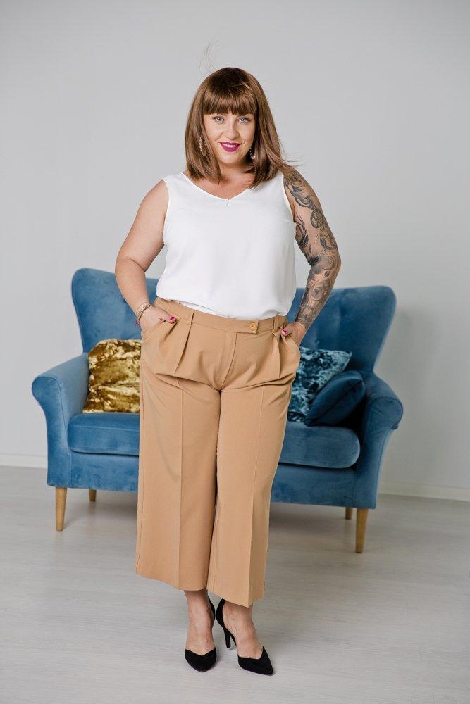 Brązowe Spodnie LARYS Plus Size