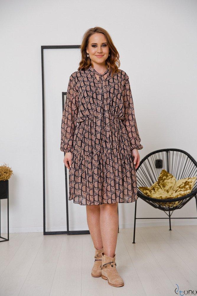 Brązowo-Czarna Sukienka CAVILLA Plus Size