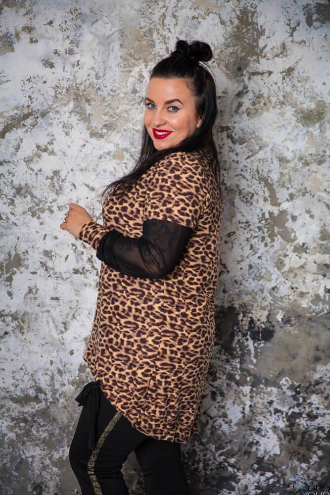 Brązowo-czarna Tunika LUNA Plus Size Panterka
