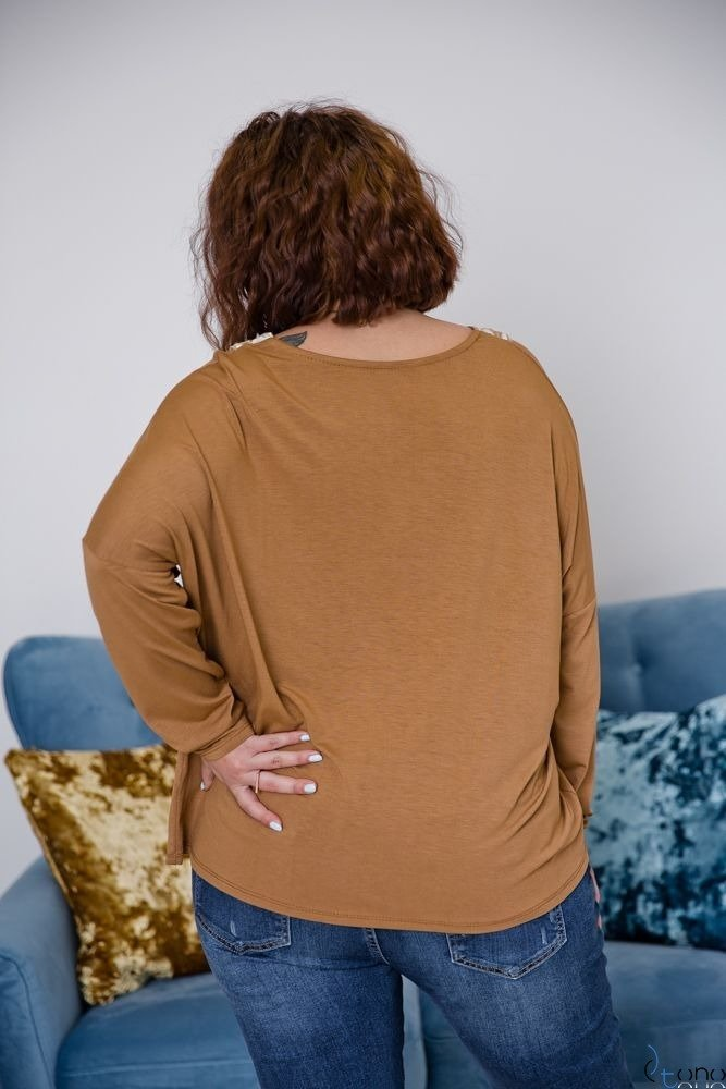 Camelowa Bluzka ORETTA Plus Size