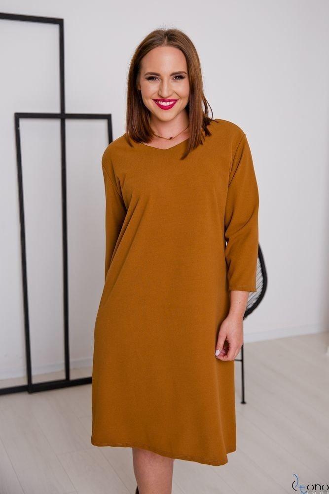 Camelowa Sukienka HIERRA Plus Size