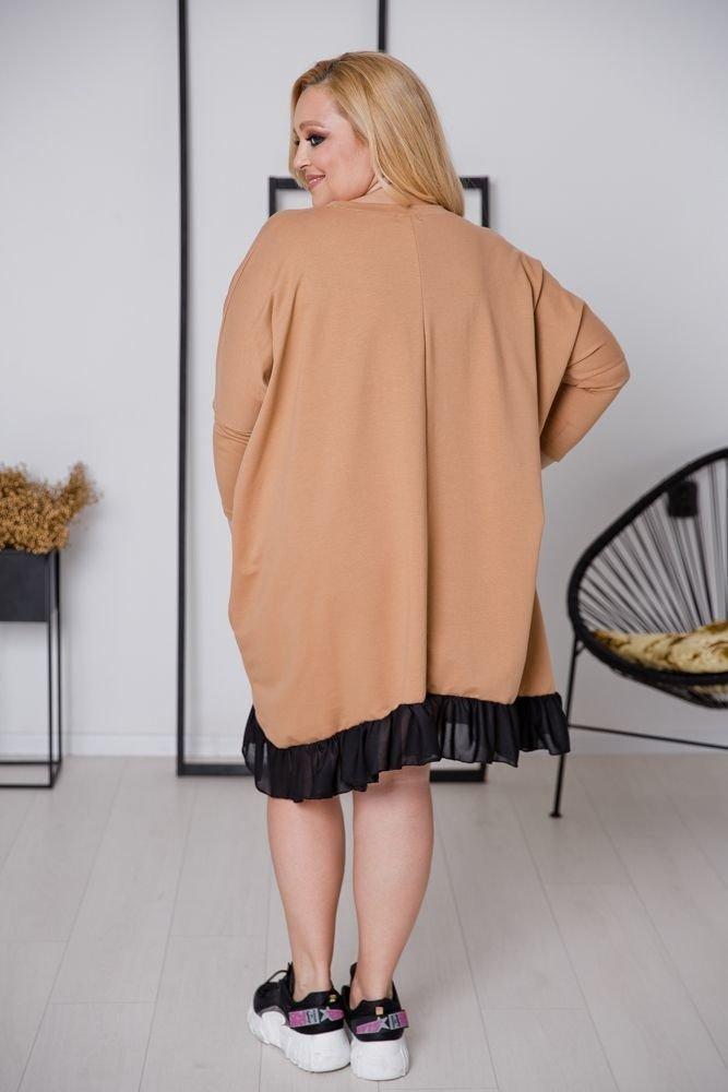 Camelowa Sukienka PRINCESKA Plus Size
