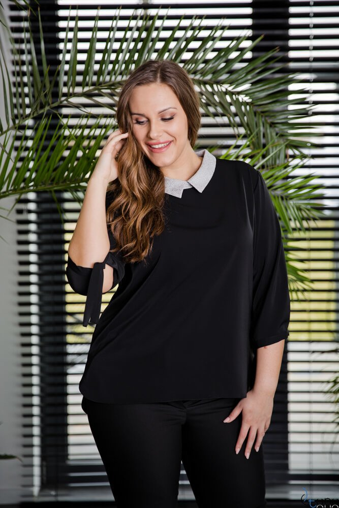 Czarna Bluzka ROTTA Plus Size