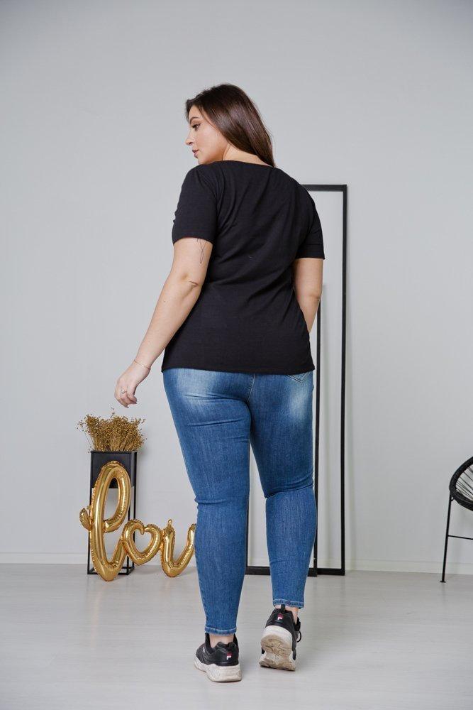 Czarna Bluzka SELF LOVE Plus Size