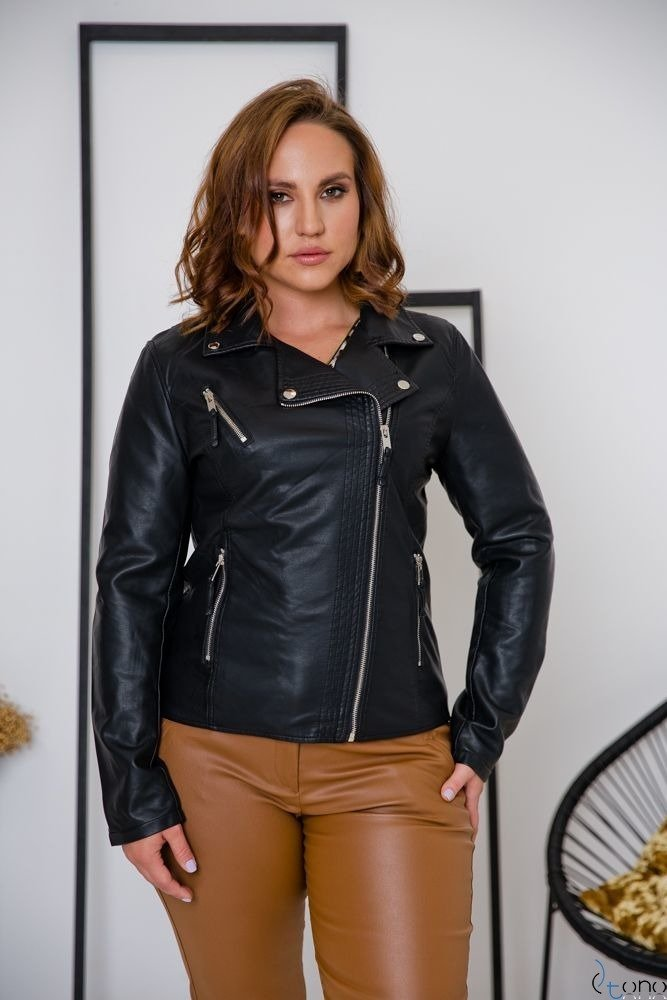 Czarna Kurtka TROFEA Ramoneska Plus Size