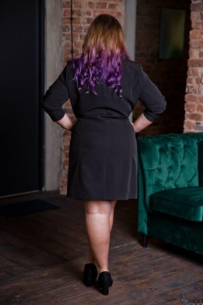 Czarna Sukienka FLOREN Plus Size