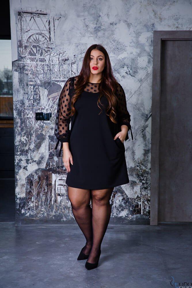 Czarna Sukienka LASHES Plus Size Wzór 2