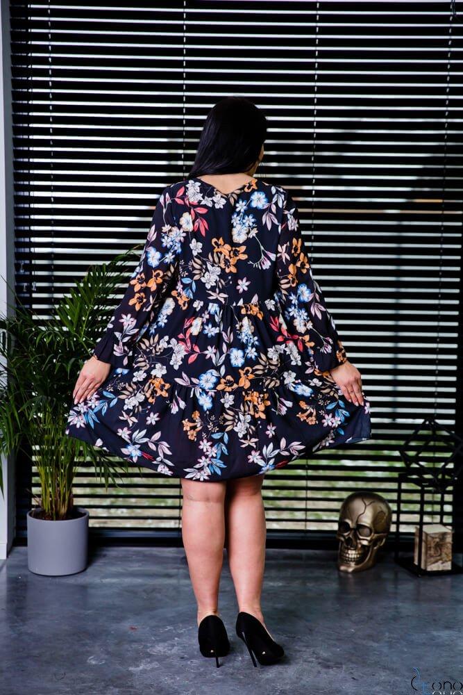 Czarna Sukienka LIVELLA Kwiaty Plus Size