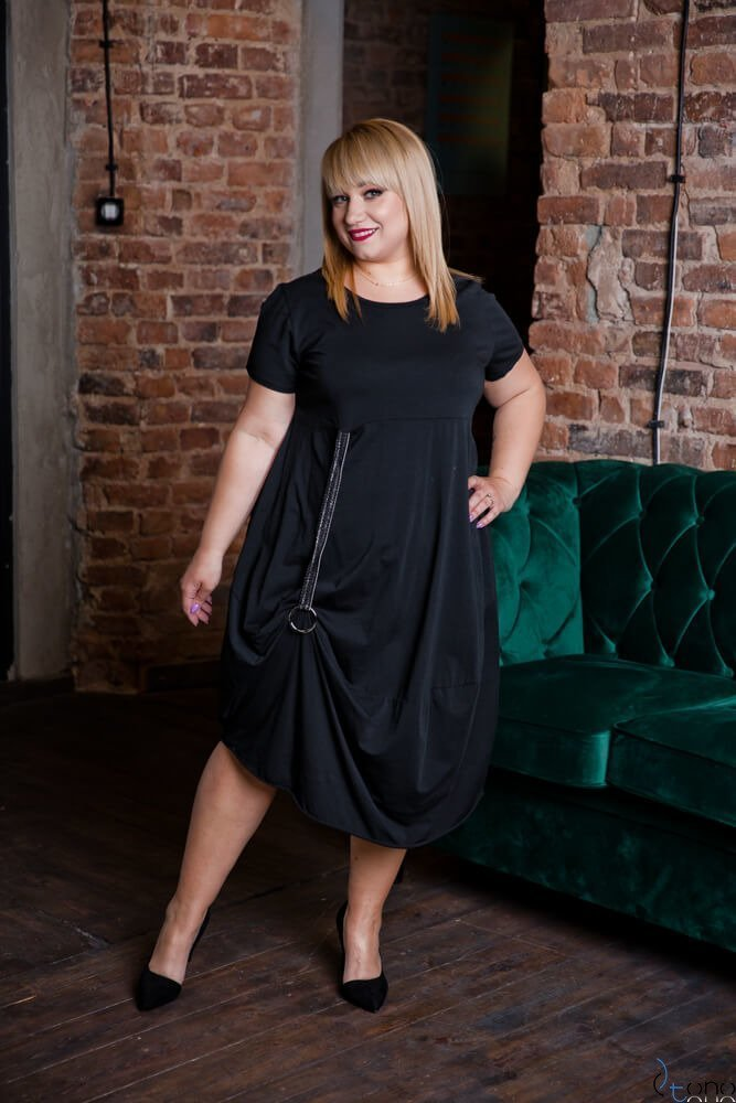 Czarna Sukienka ROLER Plus Size
