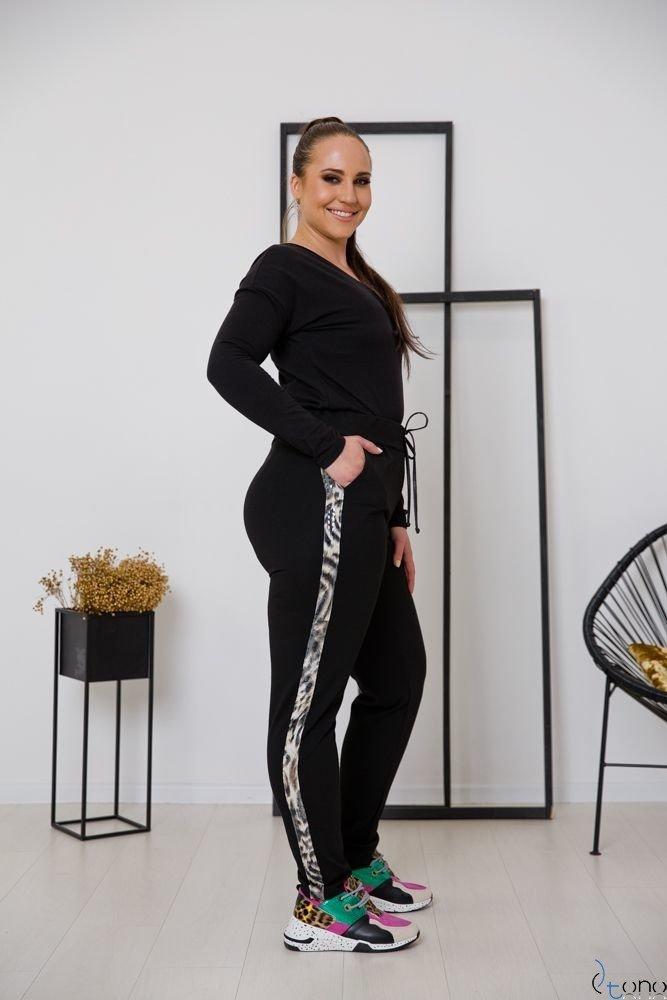Czarne Spodnie RIGES Plus Size Pantera