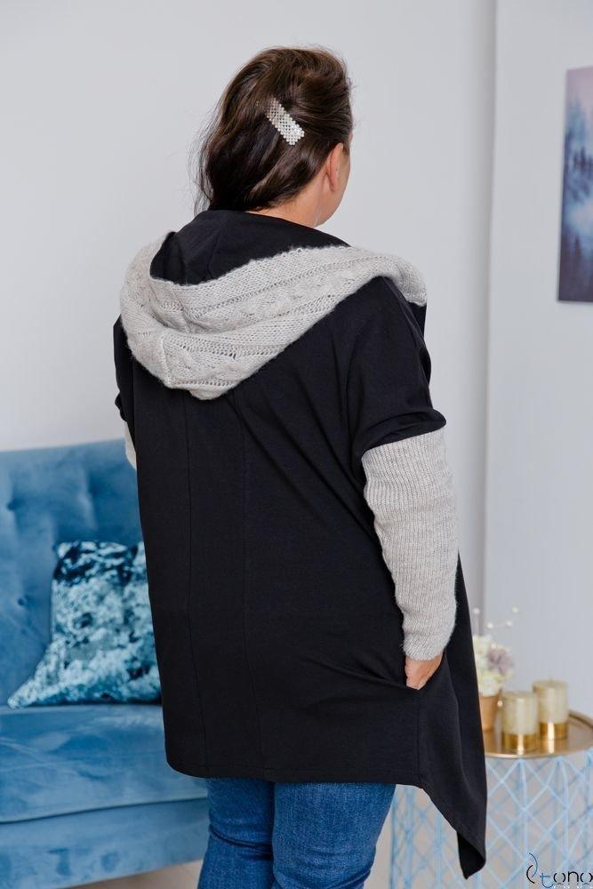 Czarno-Beżowy Kardigan COMESIA Plus Size
