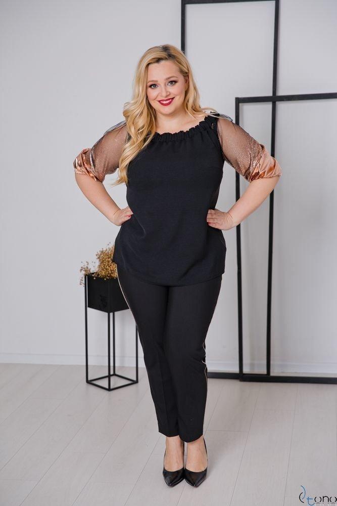 Czarno-Złote Spodnie SHILOW Plus Size Wzór