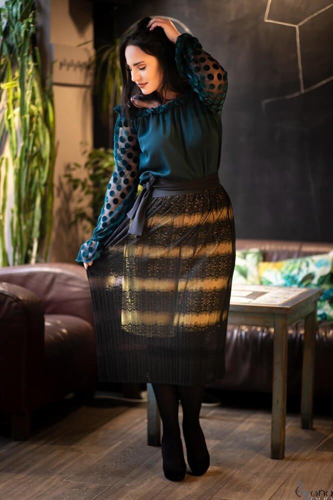 Czarno-żółta Spódnica AYONA Plisowana Plus Size
