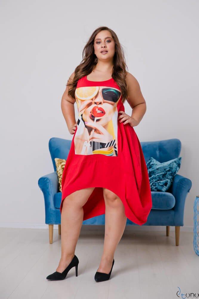 Czerwona Sukienka DORMIRA Plus Size