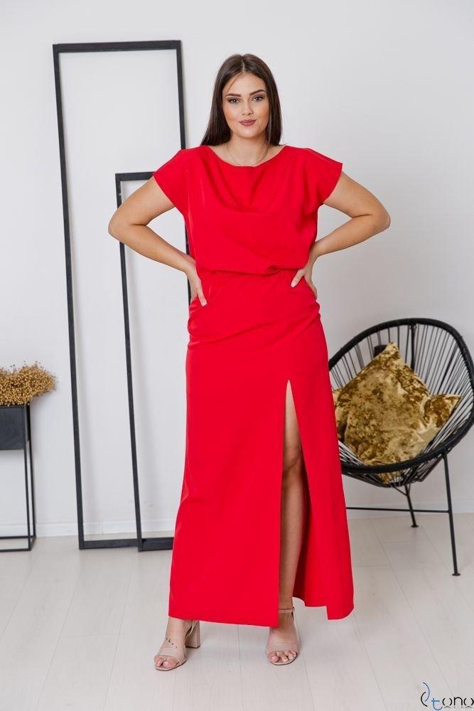 Czerwona Sukienka PRIMMA Wizytowa Plus Size