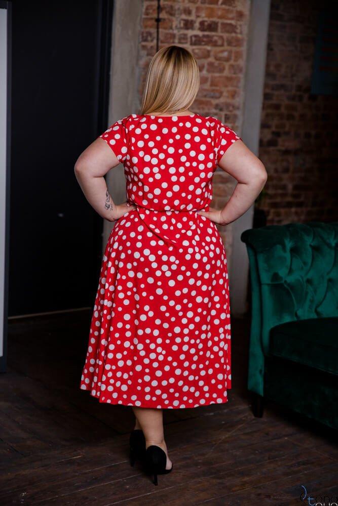 Czerwona Sukienka SANTE Plus Size
