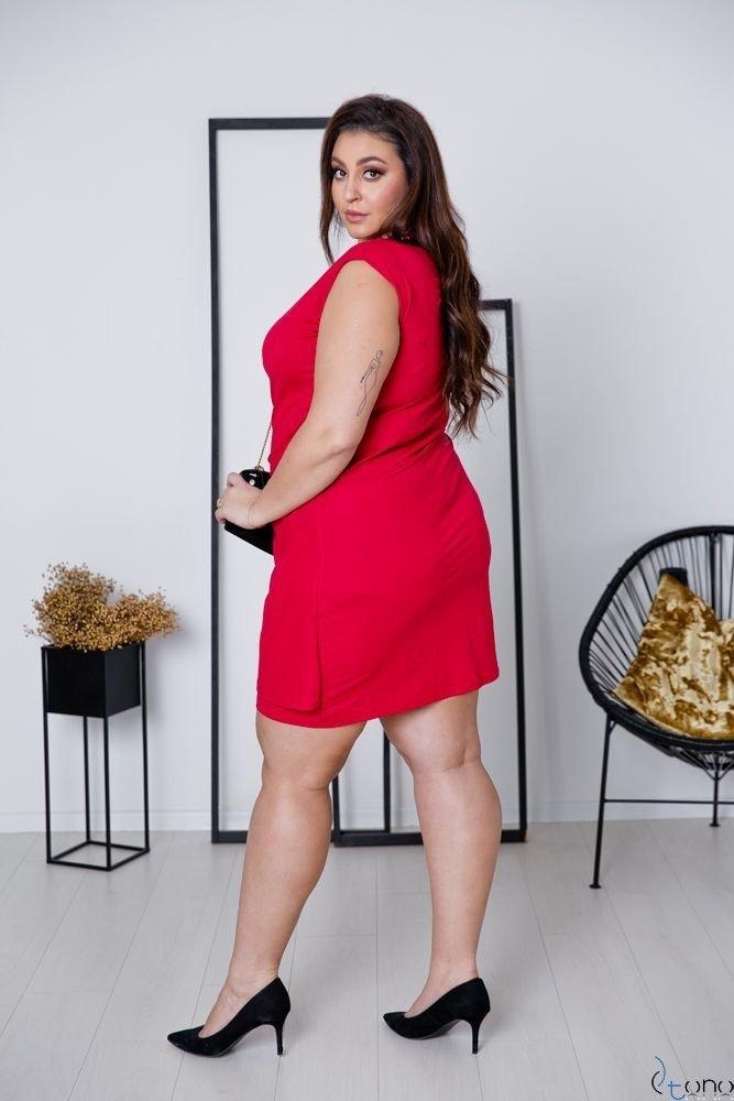 Czerwona Sukienka VENGA Plus Size