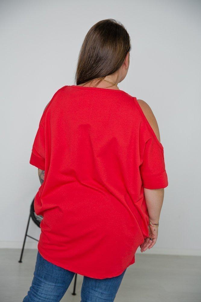Czerwona Tunika LAKASA Plus Size Wzór 1