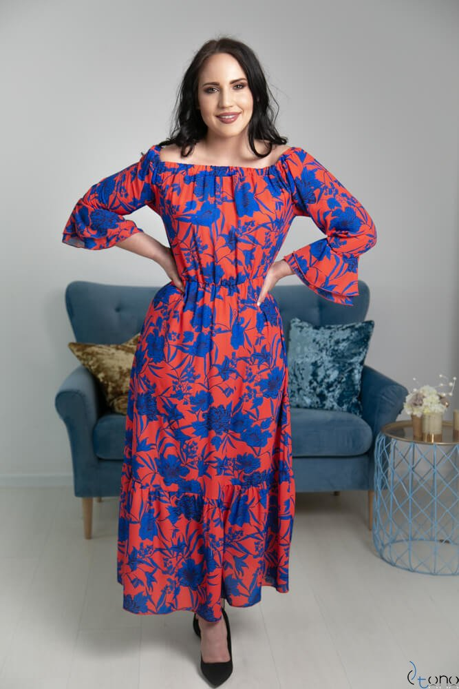 Czerwono-Granatowa Sukienka BENITA Plus Size Maxi