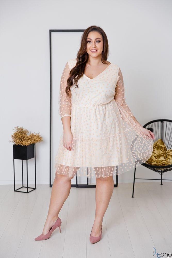 Ecru Sukienka MATTIA Plus Size